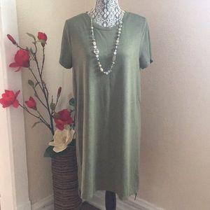 Summer green shirt dress